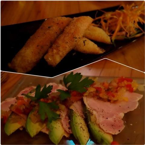 チーズと生ハムの揚げ春巻き&ロースハムとアボカドのカクテルサラダ