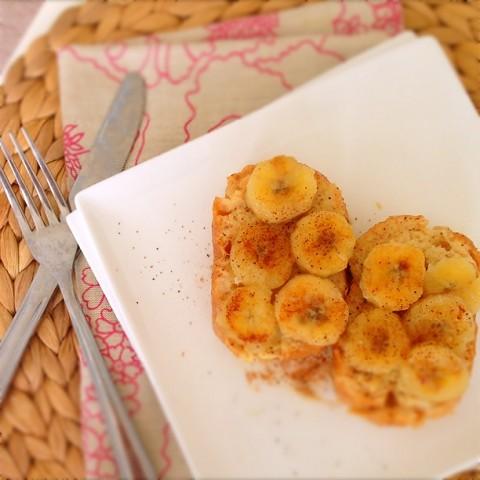 焼きバナナのシナモン豆乳フレンチトースト風☆